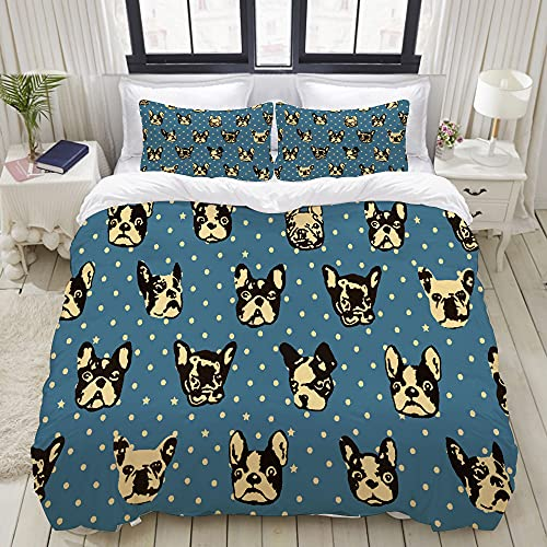 VINISATH Duvet Cover Set King Size French Bulldogs Blue Print Comforter Cover Decorative 3 Piece Bedding Sets with 2 Pillowcases