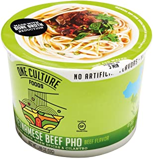 One Culture Foods Bone Broth Instant Cup Noodles, Vietnamese Beef Pho - Natural - Non-GMO (Pack of 8)