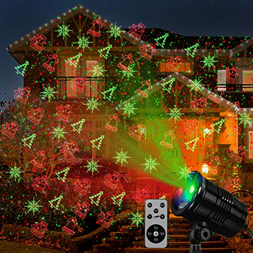 Christmas Laser Lights, Projector Lights Led Landscape Spotlight Red and Green Star Show with rf Wireless Remote Christmas Decorative for Outdoor Indoor Decoration Garden Patio Wall Xmas Holiday Party