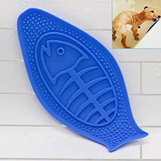 EADE Dog Lick Pad, Puppy Bath Peanut Butter Pad with Super Suction - Dog Buddy Toy for Easy and Funny Shower - Grooming Washing Helper Distraction Device for Pet Puppy Dogs Cats (Fish Shape).