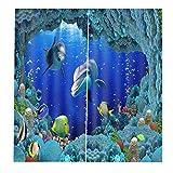 EZEZWSNBB Cortinas Opacas De Térmica Aislante 3D - Delfín Animal Submarino - Adecuado para Balcon,Salón,Habitación,Dormitorio Modernos Cortinas Accesorios Gancho Regalos Círculo Romano(150Cm X 166Cm)