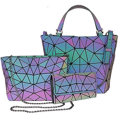 Frauen Top-Henkeltaschen Geometrische leuchtende Tasche PU-Leder Geldbörsen Daypacks Brusttasche Handtaschen holographischer Geldbeutel Damen Schultertasche