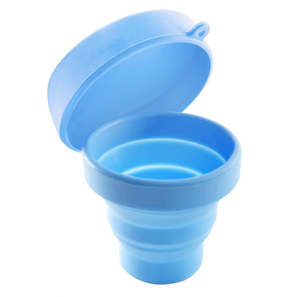 夜明けにイヤホンユニークなROSENICE 折りたたみ式カップ(蓋付き)ポータブルポップアップカップ(キャンプ用)ピクニックハイキングアウトドアアクティビティ(ブルー)