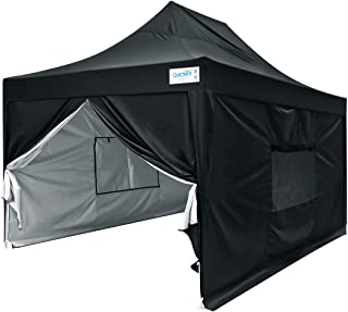 Quictent Upgraded Privacy 10x15 EZ Pop Up Canopy Tent Instant Folding Party Tent Photo Booth with Sidewalls and Wheeled Carry Bag Waterproof -5 Colors (Black)
