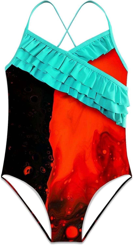 Girls One Piece Swimsuits Abstract Modern Marblepattern Seawave Retro Black Red Ink Hawaiian Ruffle Swimwear Beach Bathing Suit, M