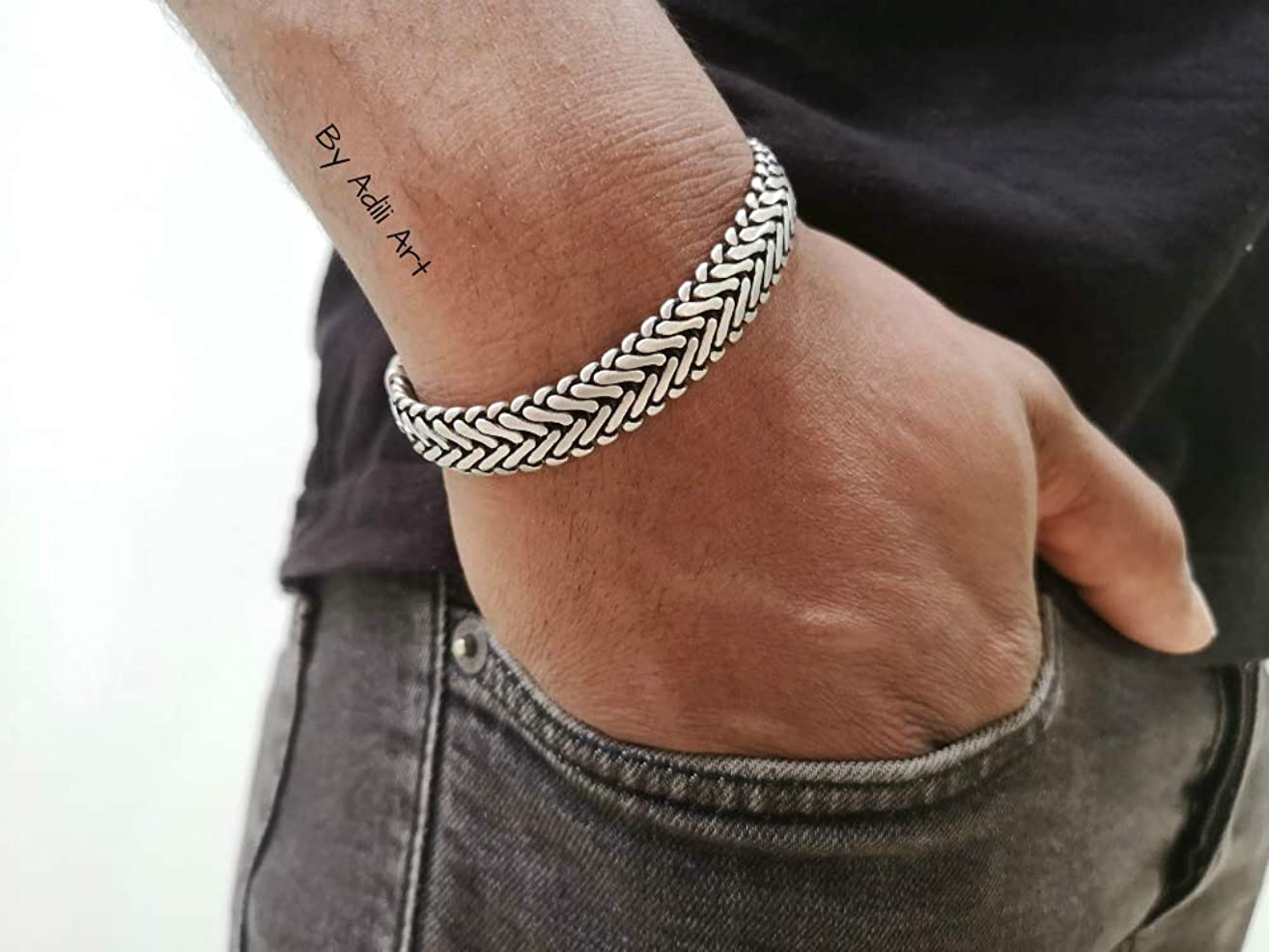925 Silver Plated Men's Bold Chain Bracelet (for wrist size approx 8.5