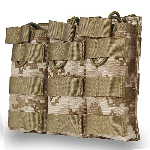Triple Mag Pouch for M4 M16 AR15 HK416 Mag Holder Open-Top Military Airsoft Magazine Pouch Tactical Backpack Vest Molle Accessories (Digital Camo) -  WST, WoSporT-MG-13-Camo-DD