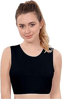 Women's Modest High Neck Cropped Layering Shell - Viscose Lycra Full Shoulder Sleeveless Tank