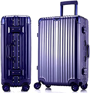 WHPSTZ Trolley Case PC Trolley Case Super Aluminum Alloy Rod for Aviation Ultra Light and Durable Luggage Password Boarding Caster Trunk Trolley case (Color : Blue, Size : 26 inch)