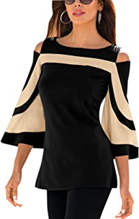 Women Tops Blouse Shirts Cold Shoulder 3/4 Bell Sleeves Stripe Pattern Fashion Knits Tee Tops