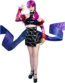 miccostumes Women's LOL KDA Evelynn Cosplay Costume Outfit Top Skirt with Tail
