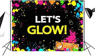 Let's Glow Splatter Backdrop 7x5ft in The Dark Theme for Adult and Children Dancing or Birthday Party Doodle Decoration Photography Background FT020