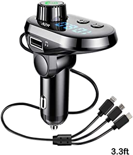 Bluetooth FM Transmitter for Car, Wireless Radio Adapter Car Kit with Fast Charger 3.1A, Support TF Card Slot USB Flash Drive and Handsfree Calling,with Lighting/Mirco/Type C Charging Port (Sliver-B)