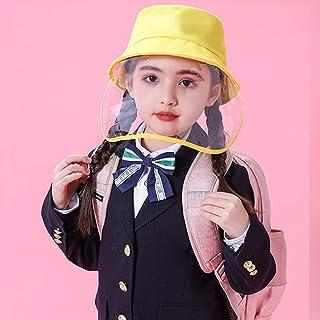 NUOBESTY Cappello per Bambini Anti-Saliva con Visiera Rimovibile a Pieno Facciale Cappello Pescatore Antigoccia Antispruzzo per Ragazze E Ragazzi Giallo