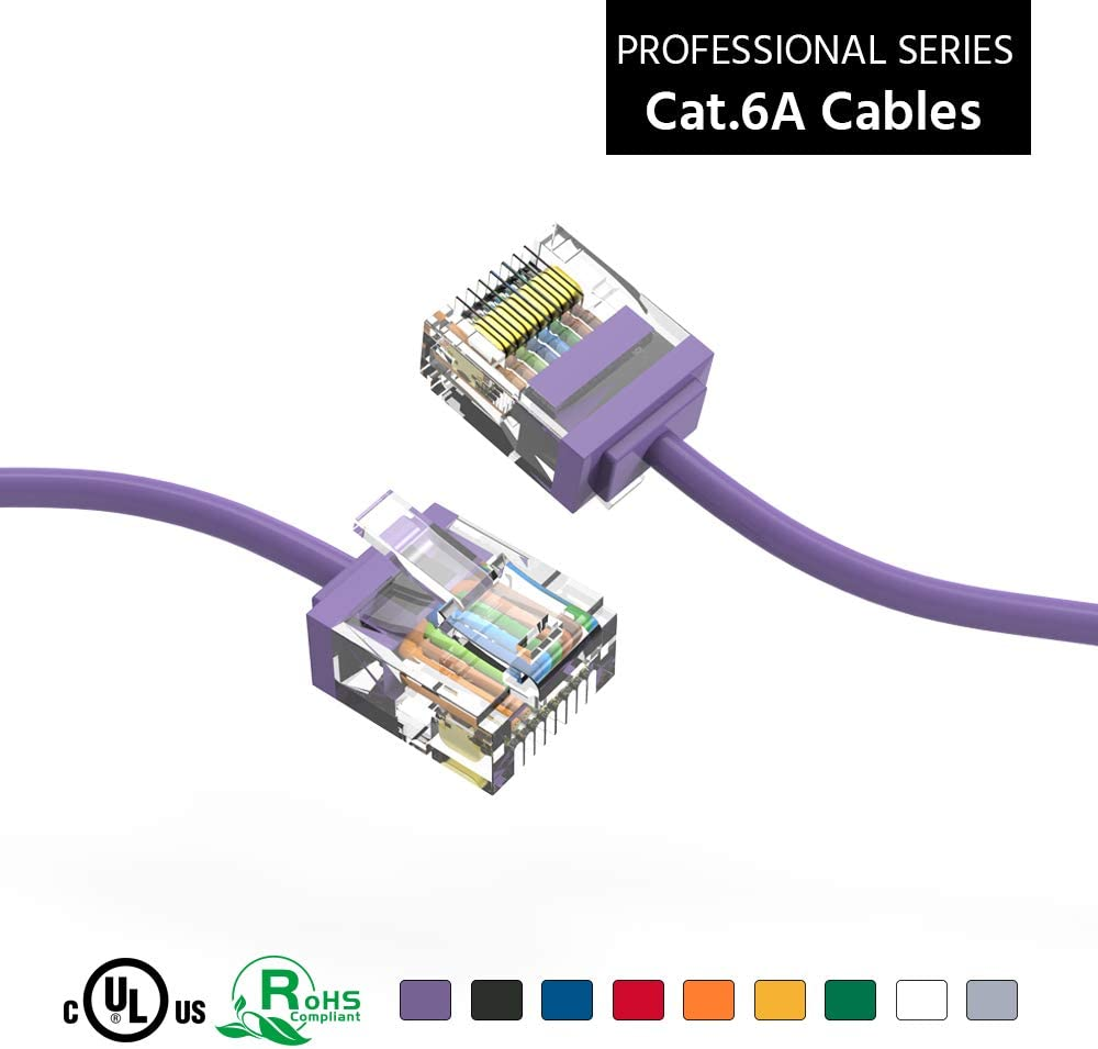 ACCL Free shipping New 0.5Ft Cat6A Atlanta Mall UTP Super-Slim Ethernet 32AWG Pur Cable Network