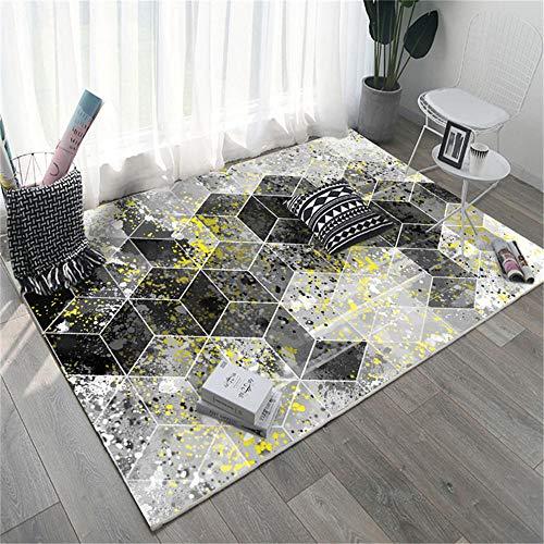 La alfombras Alfombra Chimenea La Alfombra geométrica Amarilla Gris Negra Antideslizante no se desvanece la Sala de Estar Alfombra pasillera Alfombra habitacion 200*300cm