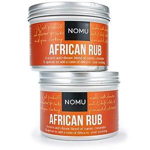 NOMU African Seasoning Rub Blend (4.58 oz | 2-pack) | MSG & Gluten Free, Non-GMO, Non-Irradiated