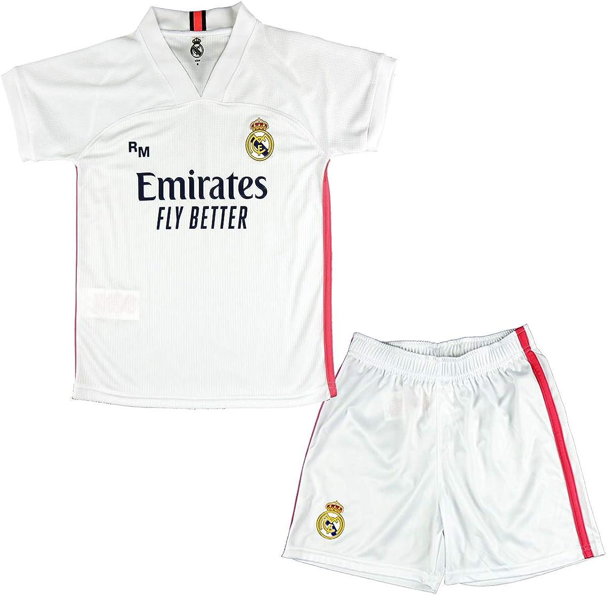 Real Madrid CF Conjunto Camiseta y Pantalón Infantil Primera Equipación Temporada 2020-21 - Producto Oficial Licenciado -Color Blanco