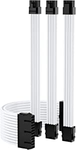 Funtin Custom Mod Sleeved Cable, White PC Power Supply Extension Cable Kit, UL1015 18AWG 24PIN ATX / 8(4+4) PIN EPS / 8(6+2) PIN PCI-E PSU Cable with Combs, 30CM (New_White)