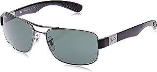 Men's RB3522 Square Metal Sunglasses, Gunmetal/Green, 61 mm