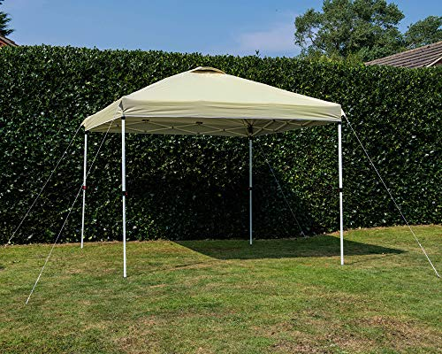 Dawsons Living Waterproof Premium One Touch Garden Gazebo - Choice of Colours - 3m x 3m Heavy Duty Pop Up Outdoor Garden Shelter - PVC Coated - Travel Bag and 4 Leg Weight Bags (Beige)