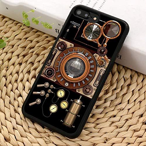 WGOUT Funda para teléfono con cámara Steampunk para iPhone X XR XS 11 12 Pro MAX 5 6 6S 7 8 Plus para Samsung Galaxy S5 S6 S7edge S8 S9 S10, para Galaxy S10