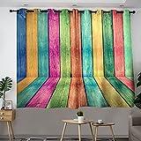 Cortina de aislamiento térmico de color arco iris, tiras de madera retro que reducen la luz y el ruido, cortinas térmicas para ventanas con 72 x 84 ancho