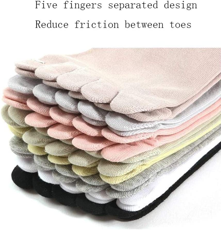 NYKK Chaussettes dhiver 5 Paires S/épar/ée Toe Chaussettes et Doigt Chaussettes de Coton color/é Cinq Doigts Chaussettes for Femmes et Filles en Cours dexercice Color : E