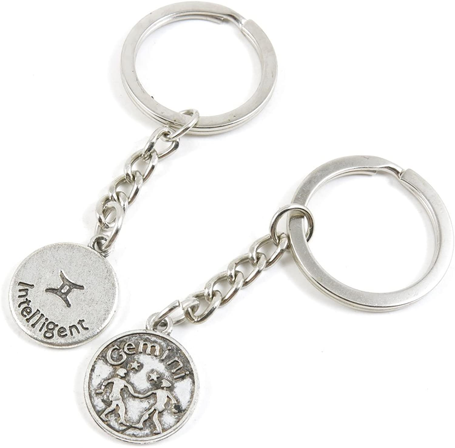 100 Pieces Keychain Keyring Door Car Key Chain Ring Tag Charms Bulk Supply Jewelry Making Clasp Findings K7UL0A Gemini