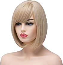 BESTUNG Short Bob Straight Synthetic Blonde Highlight Wigs for Women