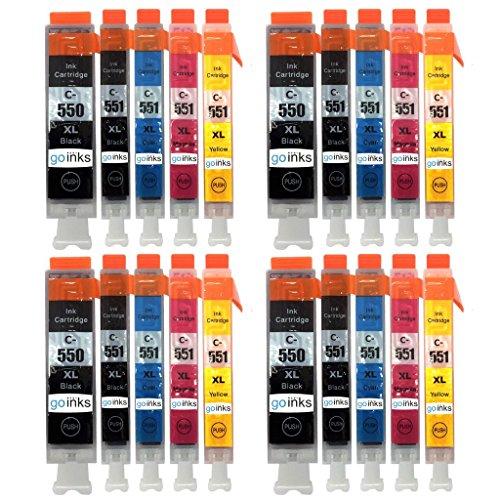 Go Inks C-550 & C551 compatibele inktcartridge als vervanging voor Canon PGI-550 & CLI-551 voor gebruik met PIXMA printer (20 inkt)