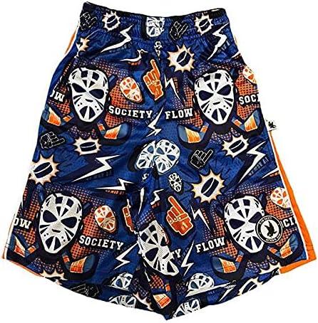 Flow Society Boys' Blue Hat Trick Hockey Shorts