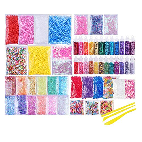 jieGorge Slime Supplies Kit 60 Pack Slime Beads Charms Slime Tools For DIY Slime Making, Home Decor for Easter Day (Multicolor)
