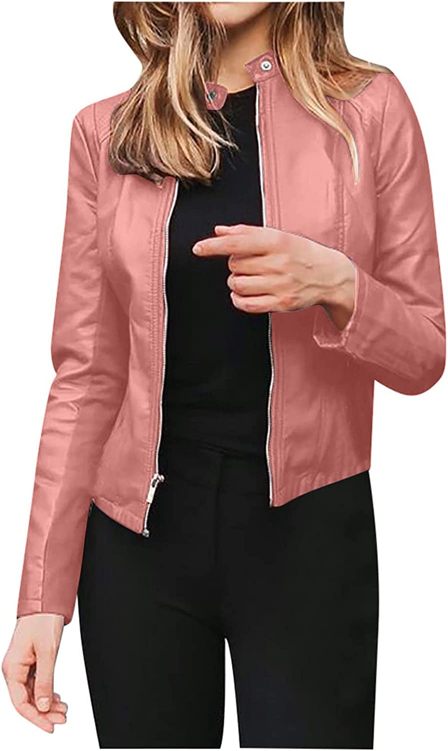 Jackets for Women,Womens Tops Fashion Comfy O-Neck Long Sleeve Solid Colors Zipper Leather Coats Ladies Short Slim Fit Blouse