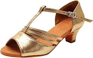 T-Strap Glitter Breathable Practice Jazz Satin Latin Shoes Soft-Soled Leather Ballroom Dance Shoes for Women