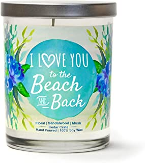 I Love You to The Beach and Back | Floral, Sandalwood, Musk | Scented Candles | 10 oz Jar Candle | Made in USA | Decorative Aromatherapy | Beach Gifts for Women or Men | Teal Candles | Beach Candles