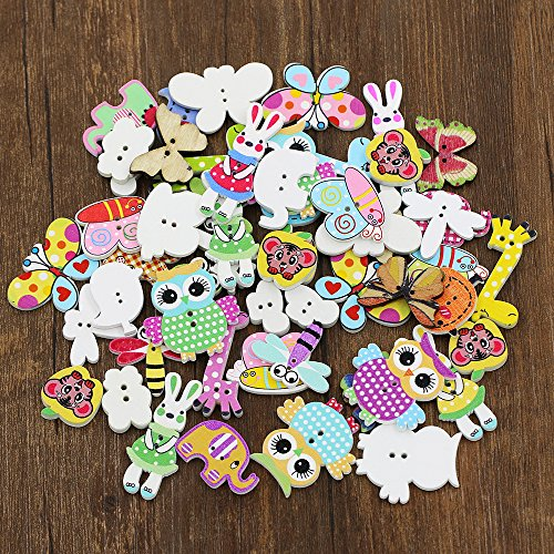 Acamifashion 50pcs/lot Wood Cute Cartoon Animal Buttons Sewing Children Buttons Clothes Ornament DIY Making