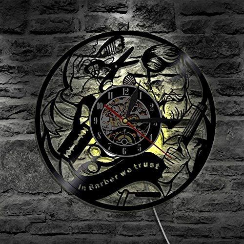 Reloj de pared con luz LED de 7 colores, para peluquería, peluquería, decoración moderna, regalo hipster