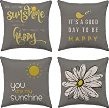 WFLOSUNVE Yellow On Grey Decorative Throw Pillow Covers 18