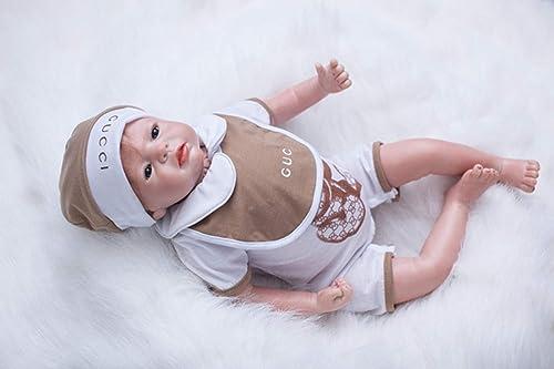 O-YMS Baby Dolls Junge Augen Offen Weißhes Silikon Vinyl Magnetisch Handarbeit 22Zoll 55cm Reborn Babys Puppe