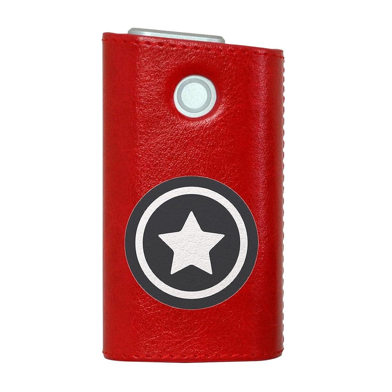 フラグラント範囲ピザglo グロー グロウ 専用 レザーケース レザーカバー タバコ ケース カバー 合皮 ハードケース カバー 収納 デザイン 革 皮 RED レッド 星 シンプル 白 黒 009702