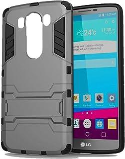 جراب هاتف LG V10 Iorn Man Hard PC + بطانة مطاطية ناعمة ومسند جراب مقاوم للصدمات - رمادي
