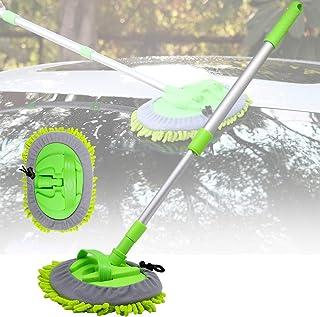 洗車モップ 伸縮式 ダスター 汚れ除去 傷つかない 水拭き 静電気防止 ほこり取り 車掃除 洗車グッズ 収納ケース付き (グリーン)