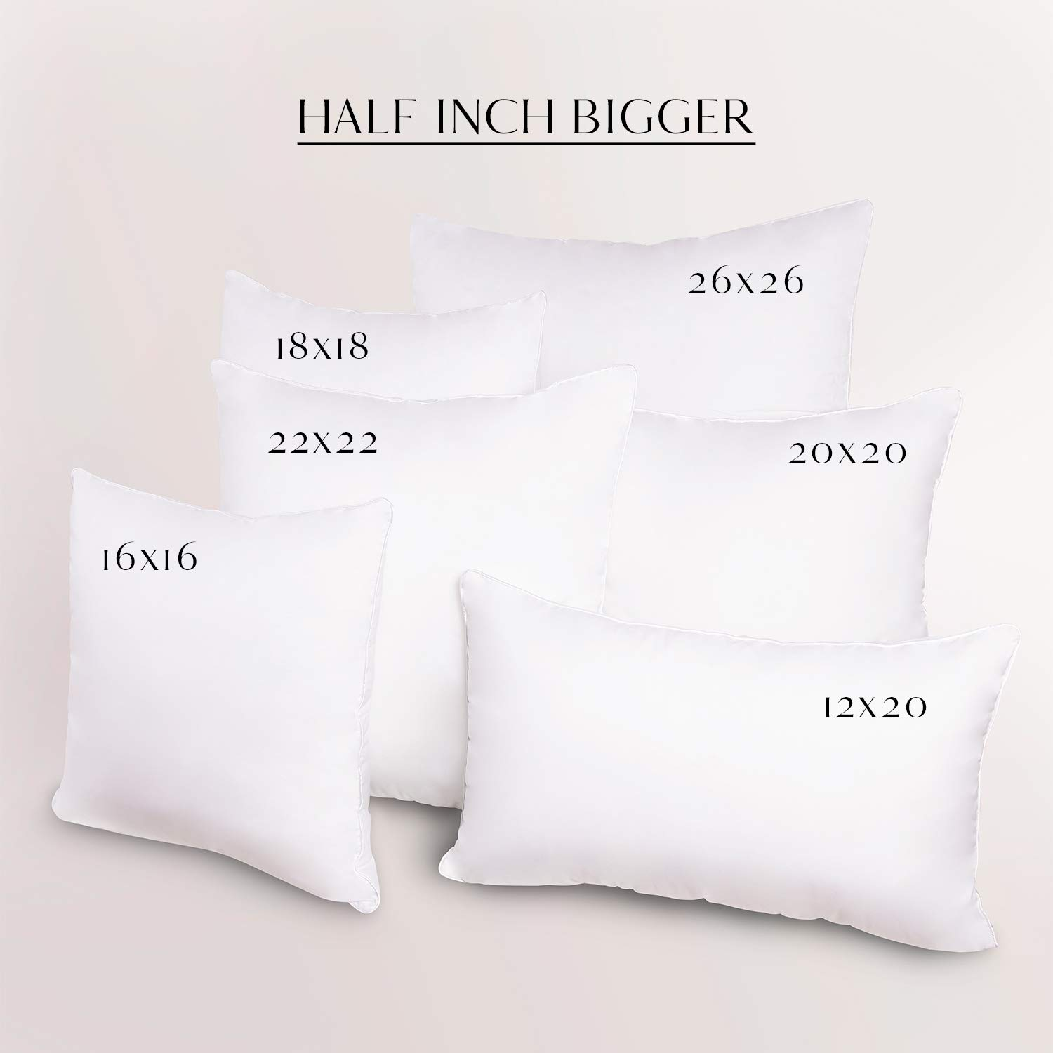 with Pure Cotton Cover Soft Supportive Square Form Hypoallergenic 16 x 16 Inches Ashler Set of 2 Throw Pillow Inserts