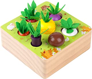 SEAMEW 1 Year Old Toy,Montessori Wooden Toys for Boys and Girls Shape Size Sorting Puzzle Happy Farm Developmental Newborn...