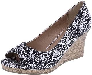 Dexflex Womens Catie Gold or Black/White Floral Espadrille Wedge Heels Sandals Shoes