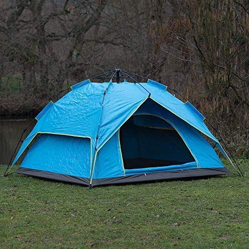 2-3 Man Person Easy to Set Up Automatic Water Resistant Pop Up Tent Double Layer Camping Fishing Shelter & Compact Travel Carry Bag (Blue)