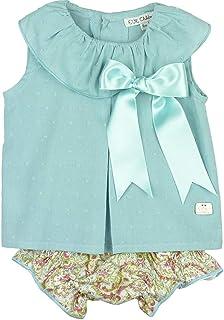 EVE CHILDREN - Conjunto de bebé para Verano Blusa de plumeti Turquesa y Short Estampado.