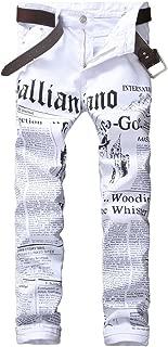 Enrica Men's Casual Printed Jeans Skinny Denim Pants