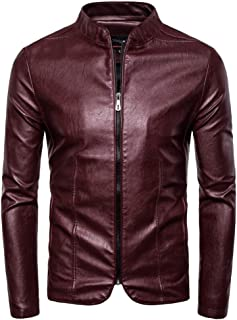 Faux Leather Jacket Men's Autumn Winter New Retro Solid Collar Jacket Pure Long Sleeved Coat Hoodies for Men